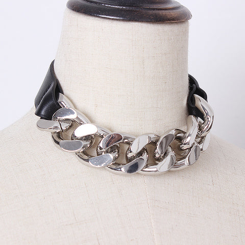 Gothic Faux Leather Thick Chain Choker Necklace