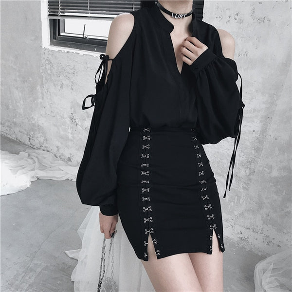 Gothic Harajuku Hook Lock Mini Skirt