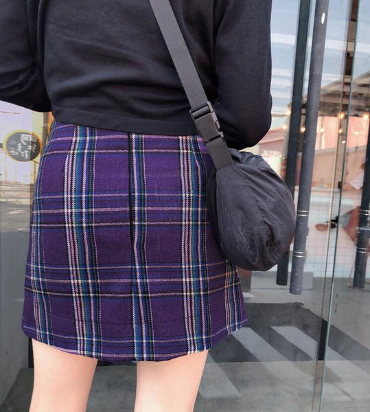 Gothic Grunge Plaid High Waist Mini Skirt (Available in Plus Size)