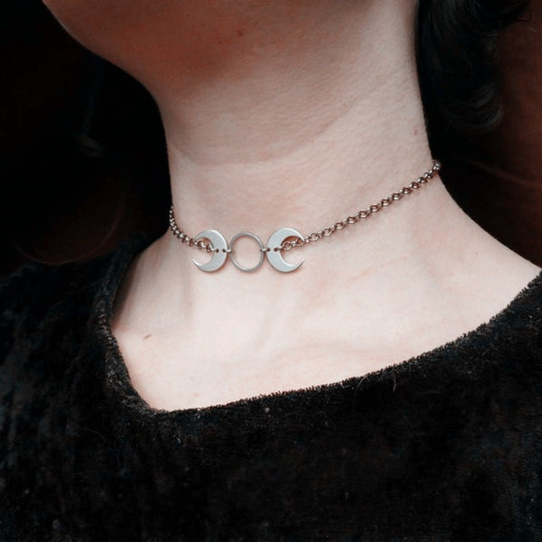 Gothic Wiccan Triple Moon Goddess Crescent Moon Choker Necklace (Available in silver and brass)
