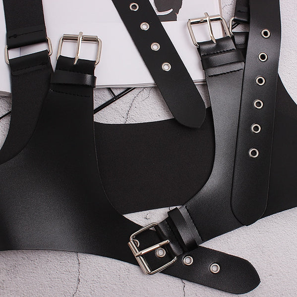 Gothic Faux Leather Triple Buckles Harness