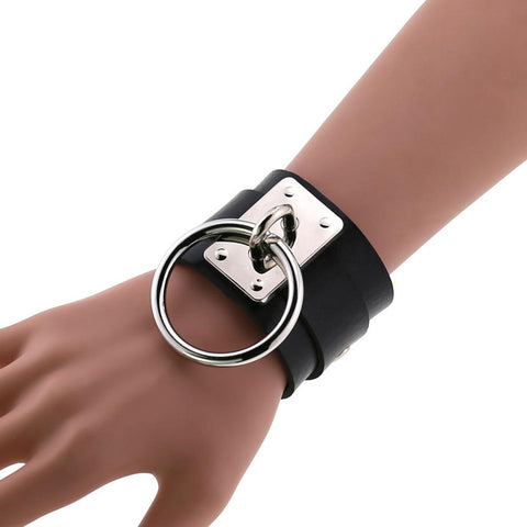Gothic Punk Faux Leather Large O-Ring Bracelet Cuff (Available in 12 colors)