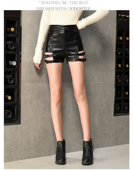 Gothic Faux Leather Hollow Out Side Straps Skinny Shorts