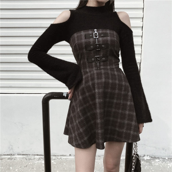 Gothic Grunge Triple Buckle Gray Plaid Tube Mini Dress