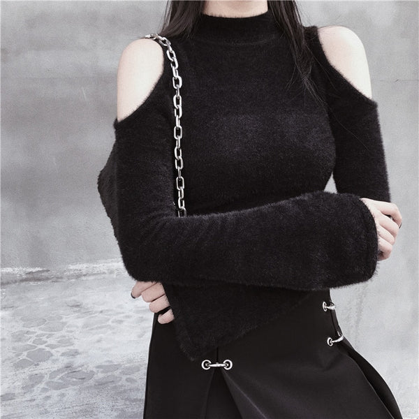 Gothic Cold Shoulder Flare Sleeves Pullover Top