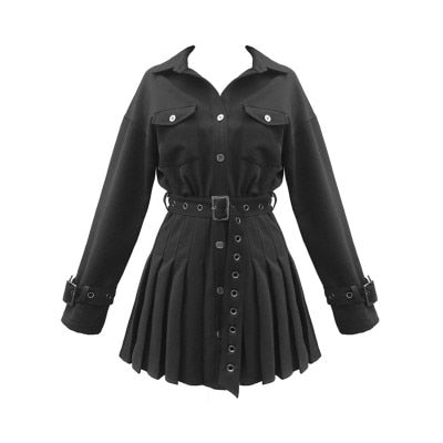 Gothic Classic Collar Grommet Belted Dress