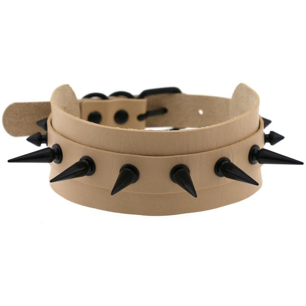 Gothic Punk All Black Large Spikes Choker Necklace (Available in 16 colors)
