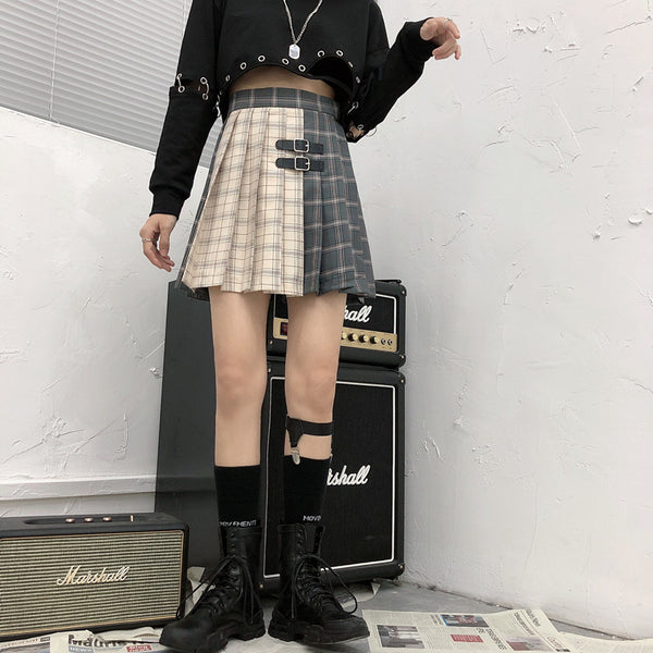 Gothic Grunge Two Tone Double Buckle Pleated Plaid Mini Skirt