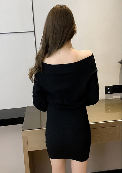 Gothic Minimalist Off Shoulder Loose Sleeve Zipper High Waist Dress