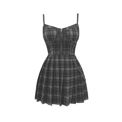 Gothic Gray Black Plaid Sling Strap Pleated  Mini Dress
