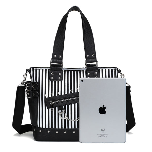Gothic Black and White Stripes Studded Chain Zipper Tote Shoulder Bag