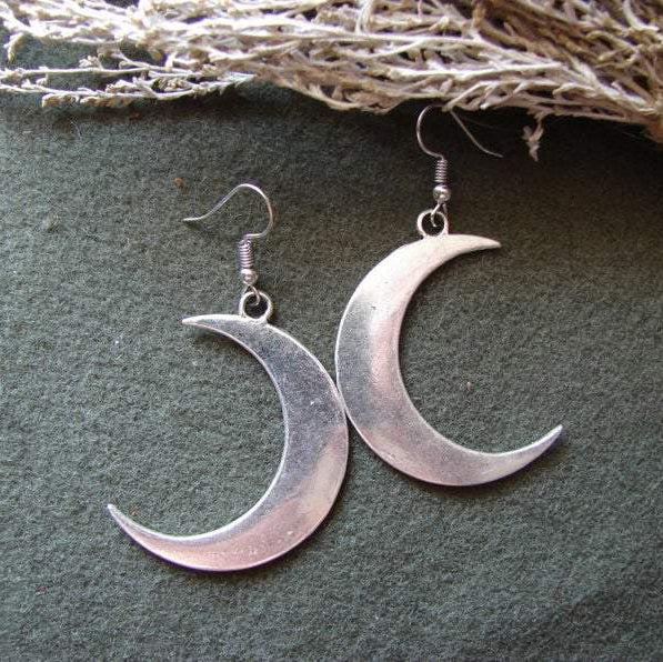 Gothic Wiccan Crescent Moon Earrings