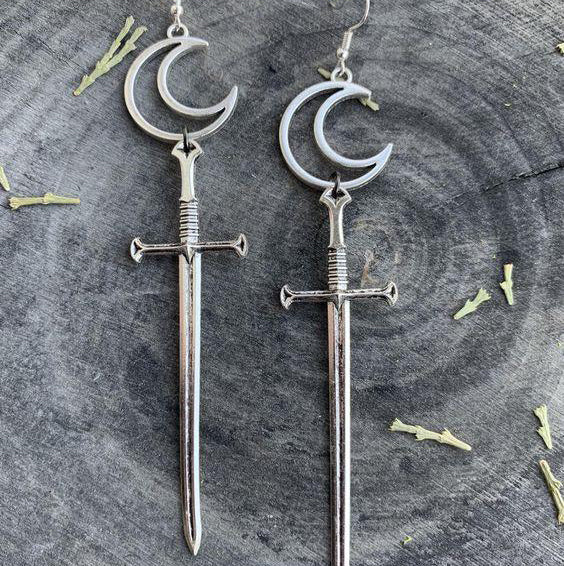 Gothic Crescent Moon Dagger Earrings