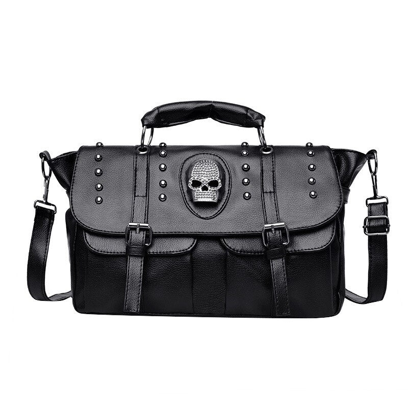 Gothic Skull Rivets Faux Leather Crossbody Shoulder Bag