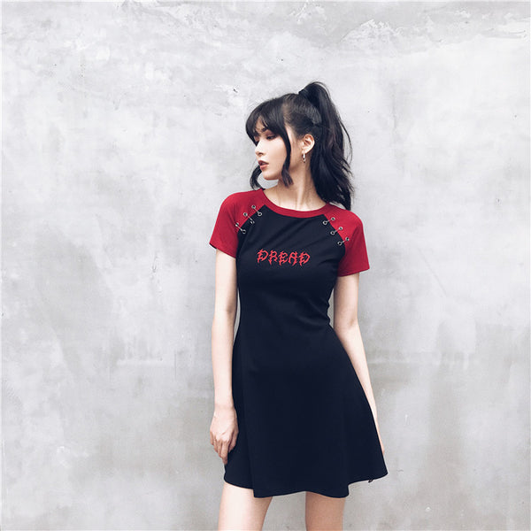 Gothic Grunge DREAD Black Red Raglan Mini Dress