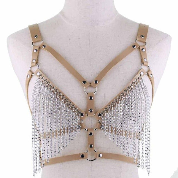 Gothic Leather And Chains Body Harness (Available in 16 colors)