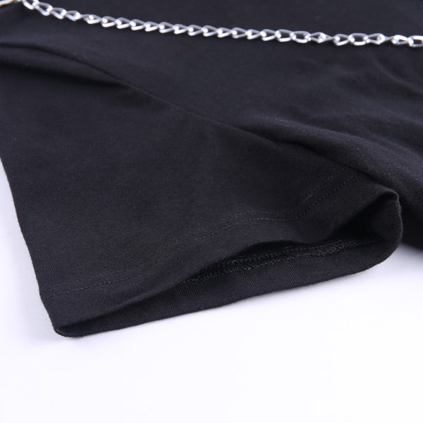 Gothic Hollow Out O-Ring Chain Crop Top