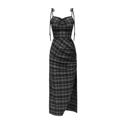Gothic Sling Strap Plaid Slit Dress
