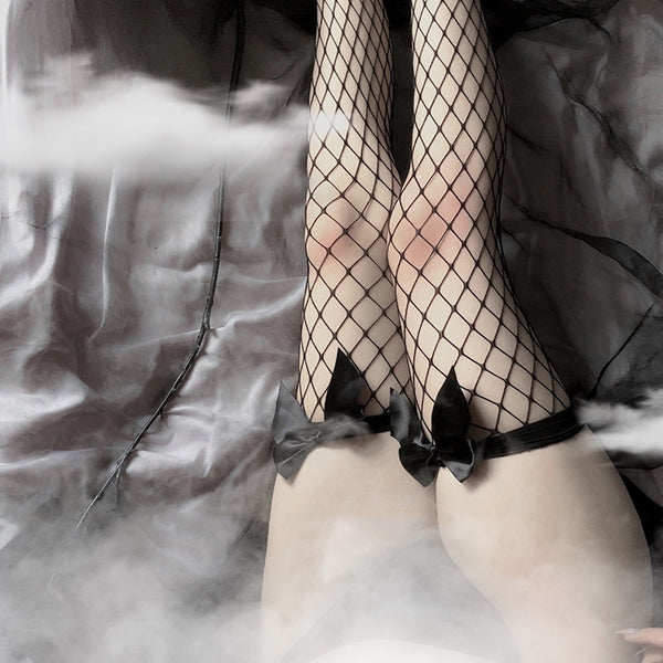 Gothic Bow Over The Knee Fishnet Stockings