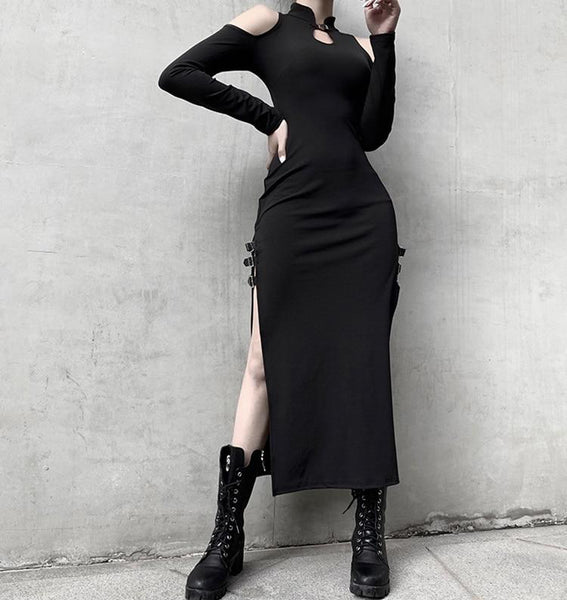 Gothic Cold Shoulder Cheongsam High Slit Long Dress