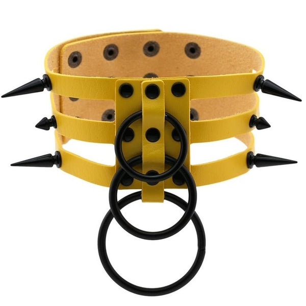 Gothic All Black Triple Layer O-Rings And Spikes Choker Necklace (Available in 16 colors)