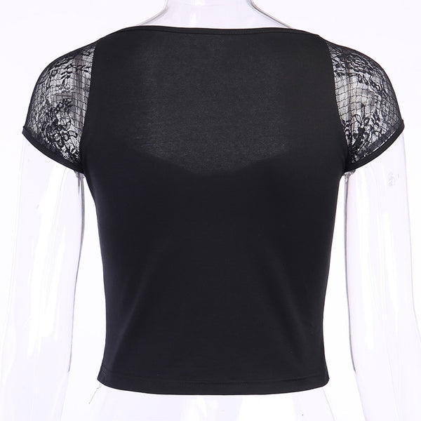Gothic Lace Sleeves Lace Up Front Top