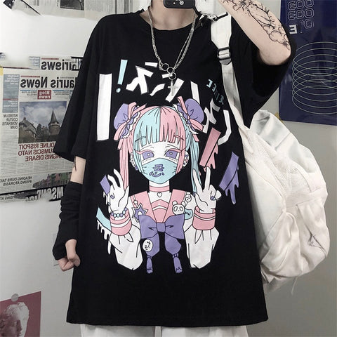 Gothic Dark Yami Kawaii Mask Doll Oversized Shirt (Available in 3 colors)