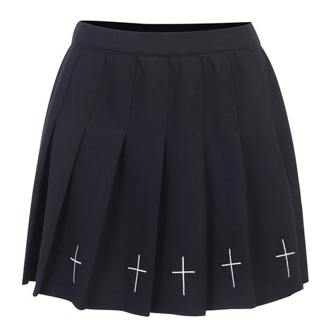 Gothic Grunge Cross Print Pleated Mini Skirt