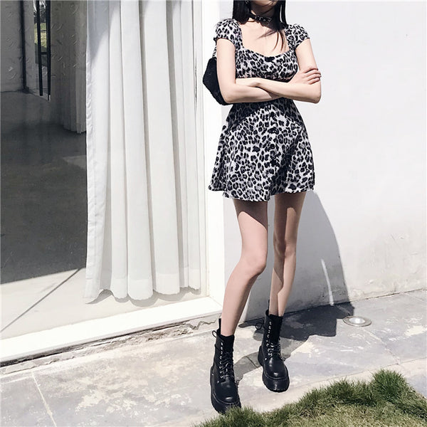 Gothic Harajuku Leopard Print Mini Dress