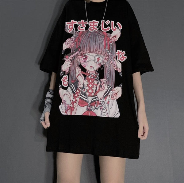 Gothic Dark Yami Kawaii Eyepatch Doll Oversized Shirt