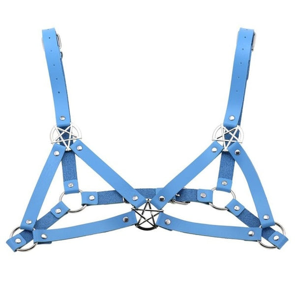Gothic Triple Pentagram Body Harness (available in 16 colors)