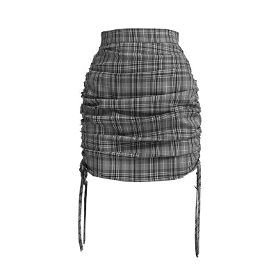 Gothic Grunge Plaid Bodycon Mini Skirt