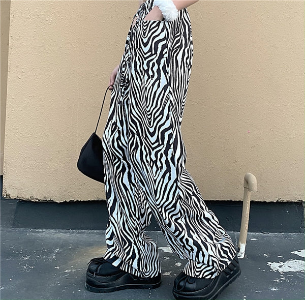 Gothic Grunge Zebra Stripes Pants (Available in 2 colors)