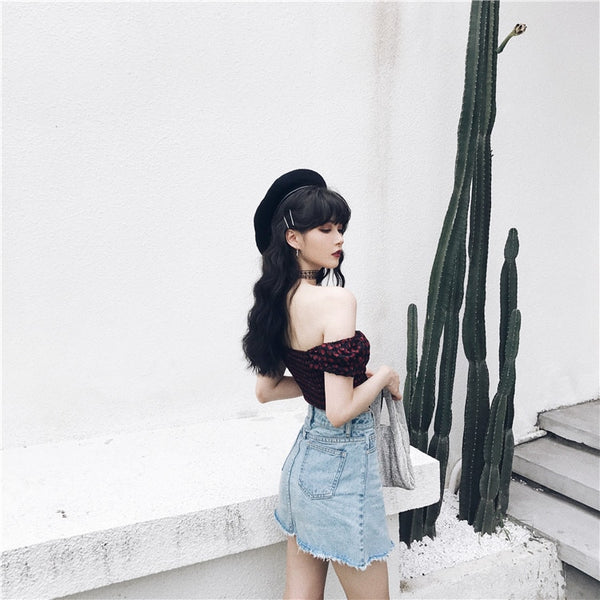 Gothic Grunge Heart Print Puff Sleeve Hollow Out Crop Top