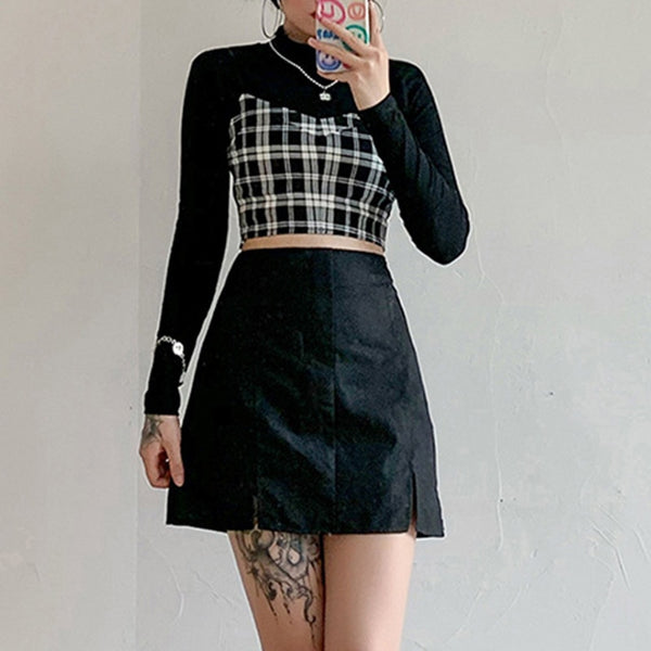Gothic Grunge 2-Piece Black Long Sleeve Plaid Cami Top