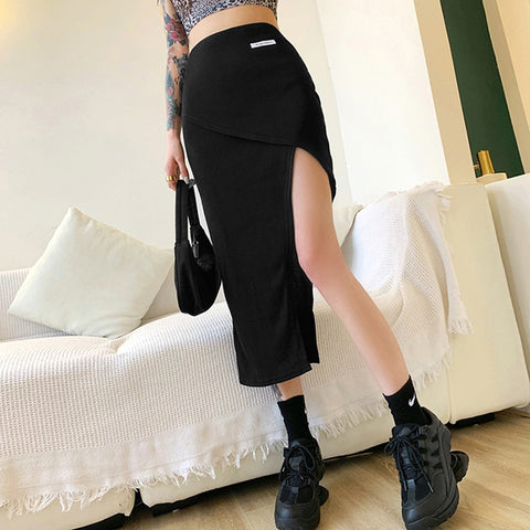 Gothic Grunge High Slit Irregular Bodycon Skirt