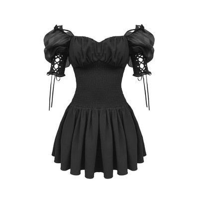 Gothic Lace Up Puff Sleeves Mini Dress