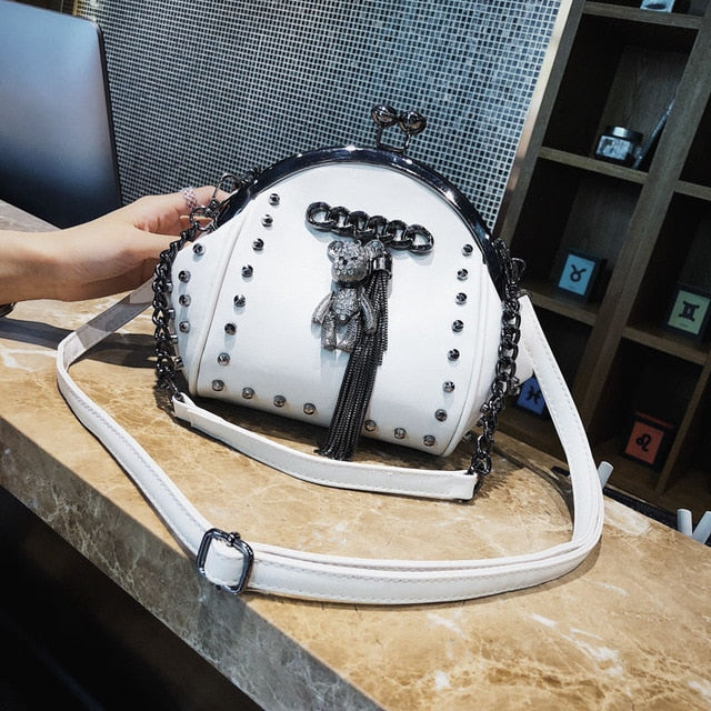 Gothic Rivet Bear Fringe Kiss Lock Chain Crossbody Bag (Available in 5 colors)