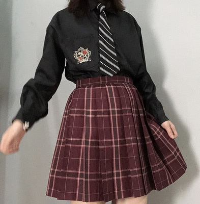 Gothic Grunge School Girl Plaid Pleated Mini Skirt (Available in size M to 4XL)