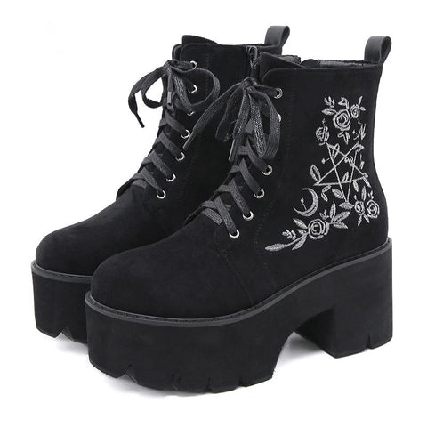 Gothic Pentagram and Rose Lace Up Platform Boots