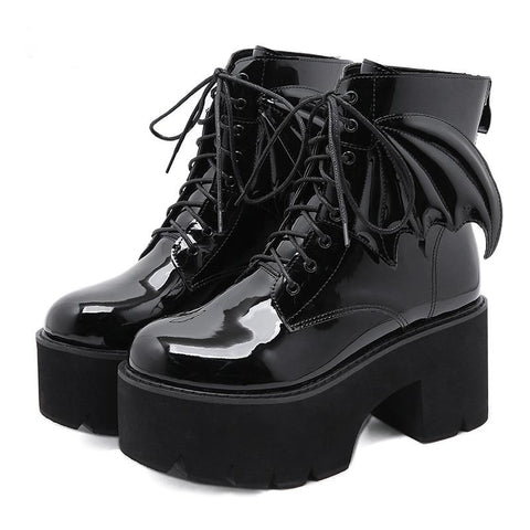 Gothic Wings Patent Lace Up Platform Boots