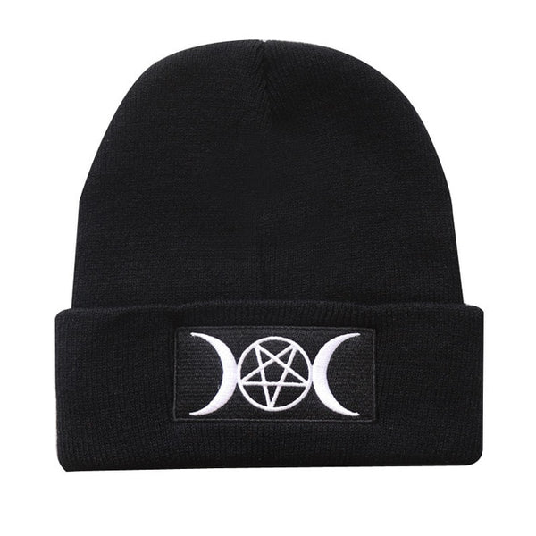 Gothic Triple Moon Knitted Beanie Hat