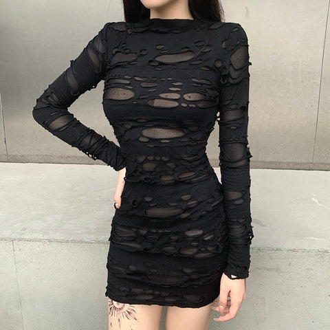 Gothic Ripped Distressed Mesh Bodycon Dress