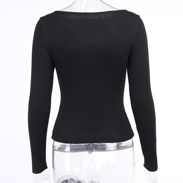 Gothic Keyhole Basic Long Sleeve Top