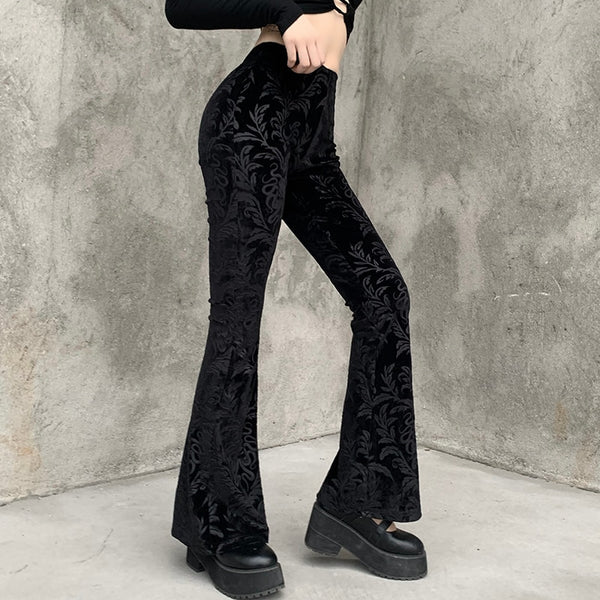 Gothic Victorian Print High Waist Flared Pants