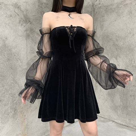 Gothic Off Shoulder Lantern Mesh Sleeve Moon Choker Mini Dress