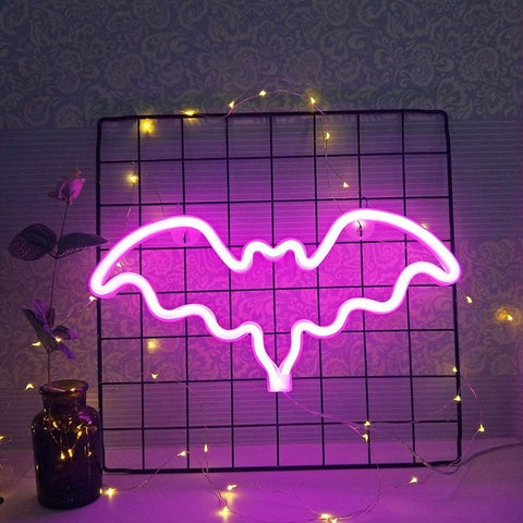 Gothic Bat Shaped Neon LED Light