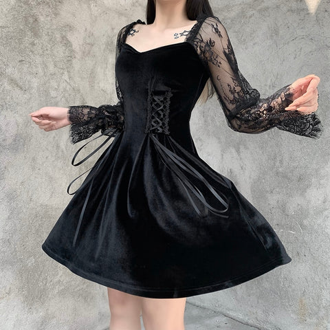 Gothic Victorian Lace Sleeves Velvet Mini Dress