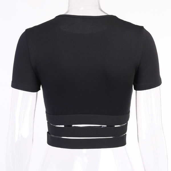 Gothic BABY GIRL Hollow Out Waist Straps Crop Top