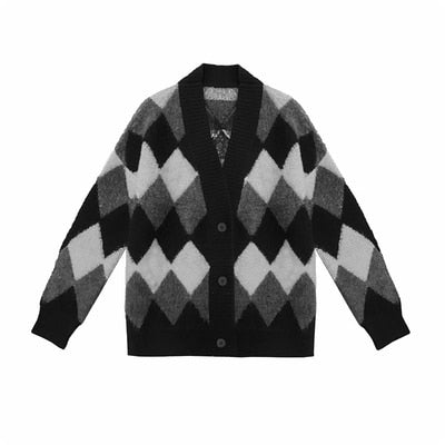 Gothic Diamond Argyle Monochrome Cardigan Coat